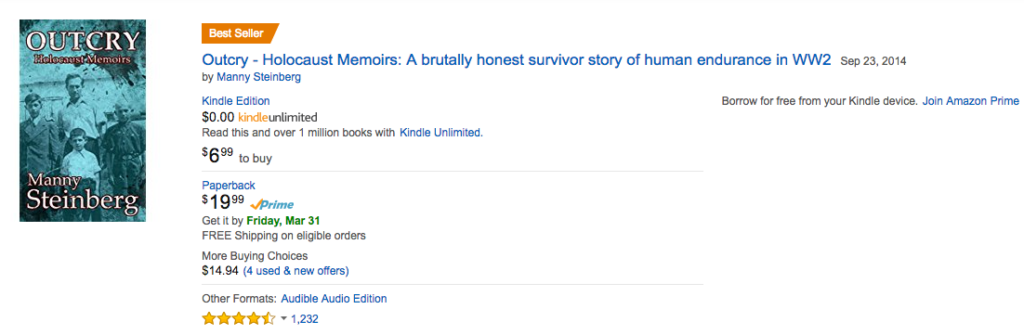 Outcry - Holocaust memoirs on bestsellers list